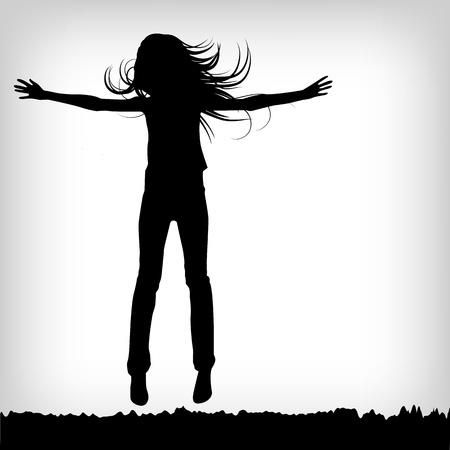 flying man: abstract silhouette girl which jump background - vector illustration