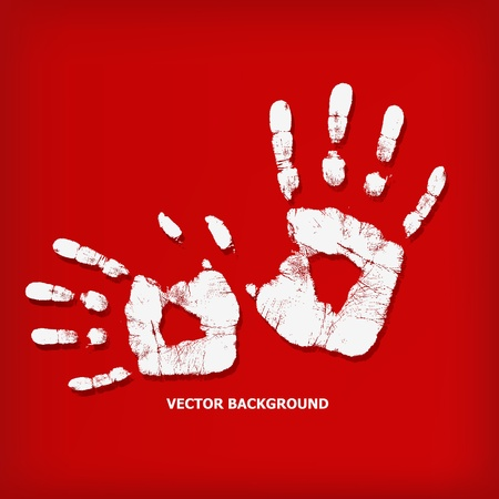 Abstract hand print on a red background - vector illustration Stock Vector - 13450367