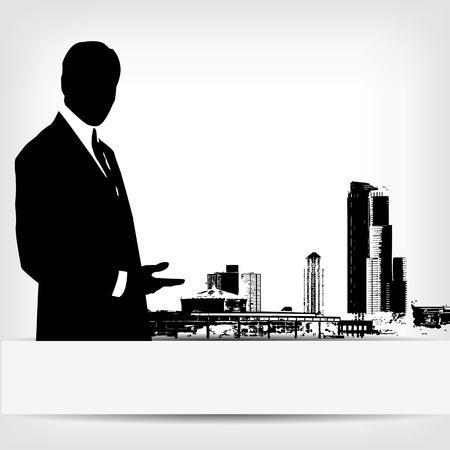empresario: silueta abstracta de negocios ilustraci�n de fondo