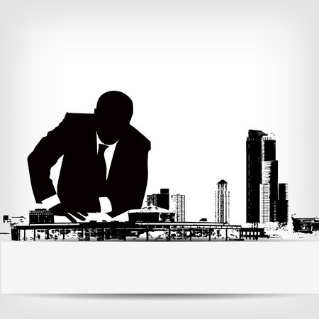 abstract businessman silhouette background illustration Vector