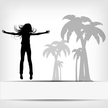 abstract background jump girl silhouette illustration Vector