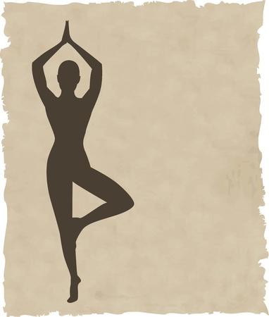 yoga icon: abstract meditating people background illustration Illustration