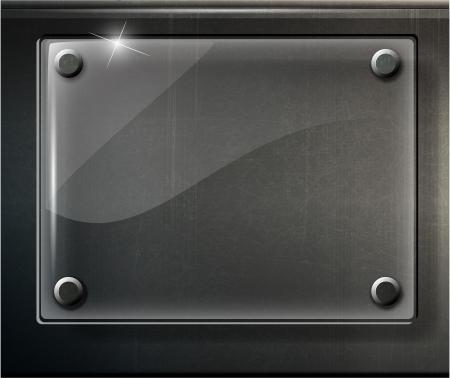 verre: abstrait plaque noire brillante sur l'illustration grille m�tallique