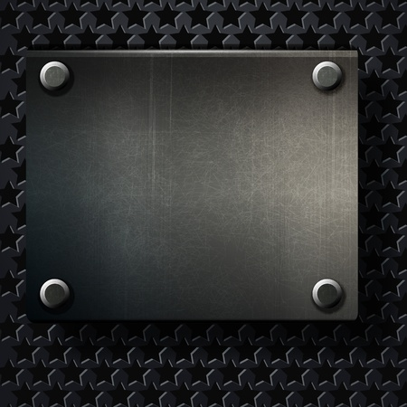 grunge background metal plate with screws Vector