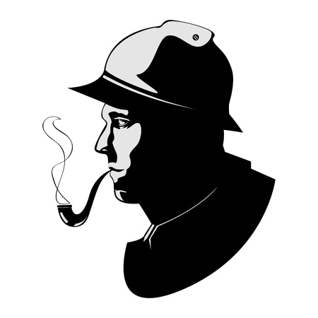 tobacco pipe: the silhouette pipe smoker Illustration