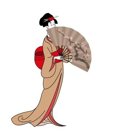 kimono: de fondo con una ilustraci�n Girl Japan