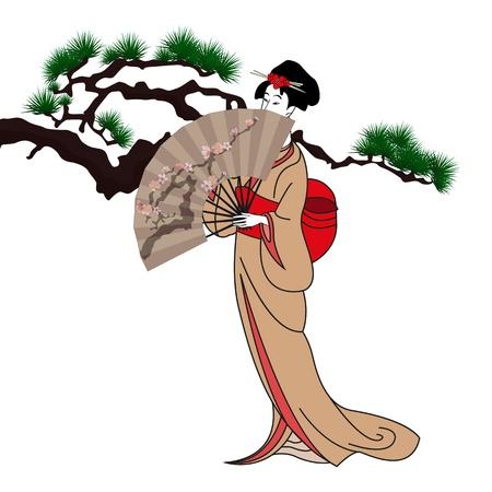 geisha kimono: background with a japan girl illustration