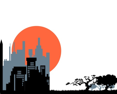 cityscape silhouette: abstract ecology design illustration Illustration