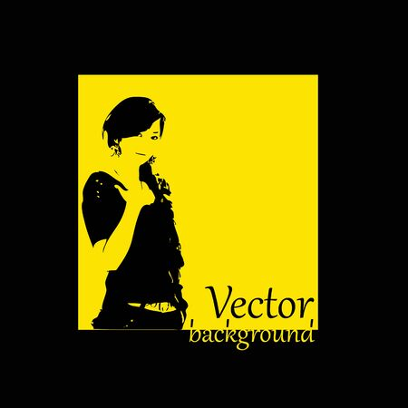 abstract silhouette girl background  Vector