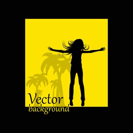abstract background jump girl silhouette Vector