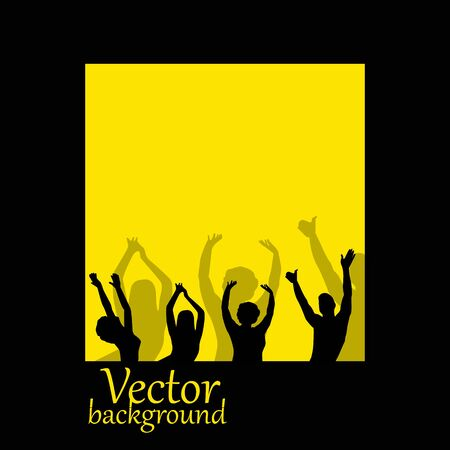 people silhouettes on yellow background Vector
