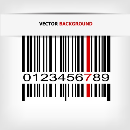 Barcode image with red strip Vector