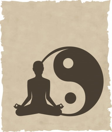 yoga meditation: abstract meditare persone sfondo Vettoriali
