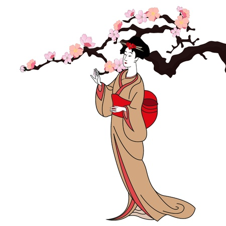 japanese kimono: vector background with a japan girl - vector illustration