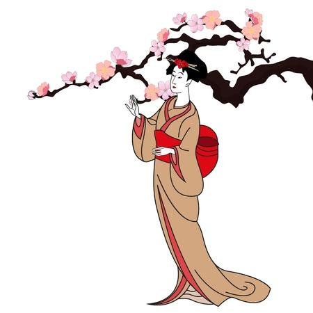 Japanese kimono girl: vector nền với một cô gái Nhật Bản - minh hoạ vector