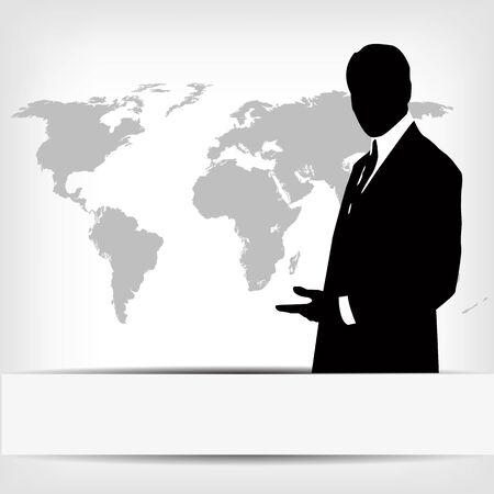 Geschäftsmann Silhouette mit Weltkarte