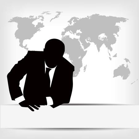 empresario: empresario de la silueta con el mapa del mundo Vectores