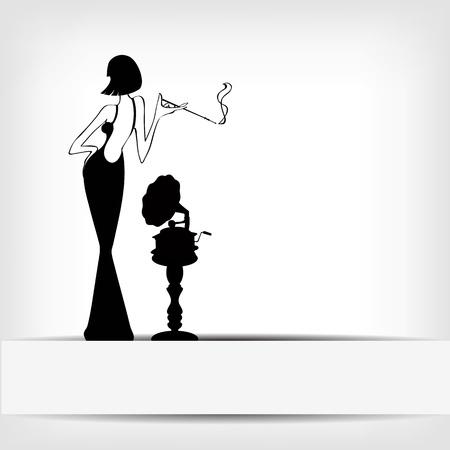 fille fumeuse: r�tro fille avec un fond vieux gramophone