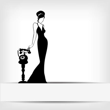 donna con telefono: l'annata retro donna sfondo silhouette
