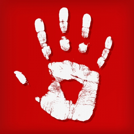 Abstract hand print on a red background Stock Vector - 14030825