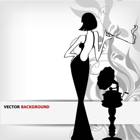 sigaretta: ragazza retr� con sfondo vecchio grammofono Vettoriali
