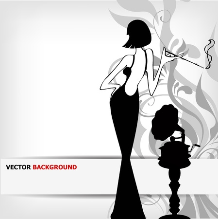 women smoking: retro girl with old gramophone background Illustration