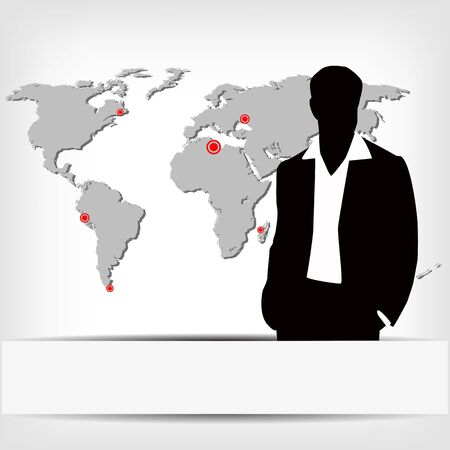 businessman silhouette with world map Vector
