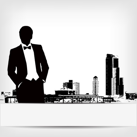 crowd tail: abstract businessman silhouette background