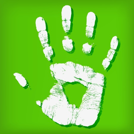 Abstract hand print on a green background Stock Vector - 14030831