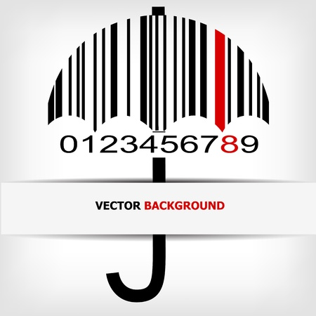 Barcode image with red strip  Illustration