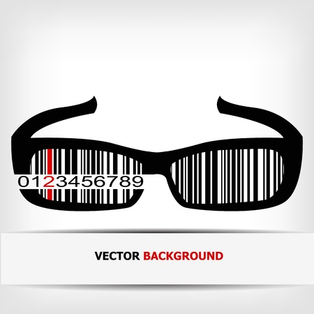 bar code: Barcode image with red strip  Illustration
