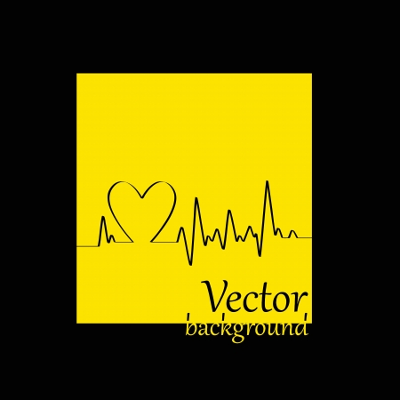 White Heart Beats Cardiogram on Yellow background - illustration Stock Vector - 15727869