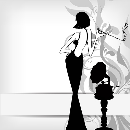 women smoking: retro girl with old gramophone background - illustration Illustration