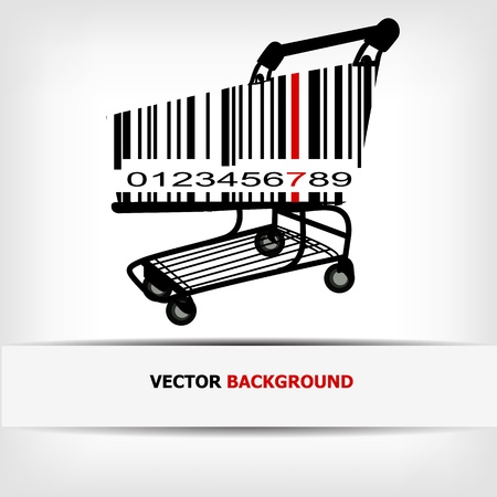 barcode scan: Barcode image with red strip -  illustration