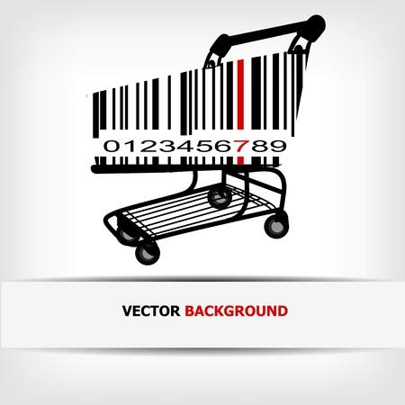 bar code reader: Barcode image with red strip -  illustration