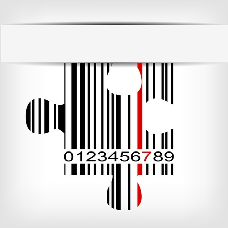 Barcode image with red strip - illustration Stock Vector - 15727093