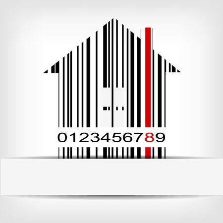 bar code: Barcode image with red strip - vector illustration