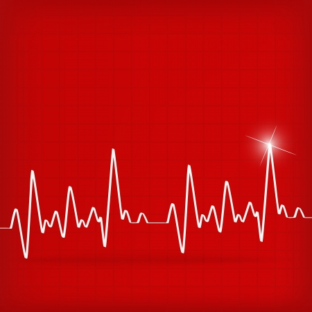 White Heart Beats Cardiogram on Red background - illustration Illustration