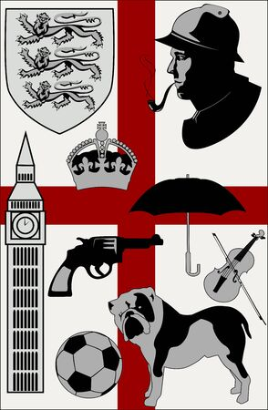 Abstract United Kingdom stereotypes set -  illustration Vector