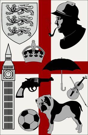 royal guard: Abstract United Kingdom stereotypes set -  illustration