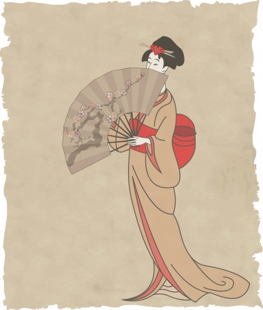 japanese flower: Japanese girl with a fan on old paper -  illustration Illustration