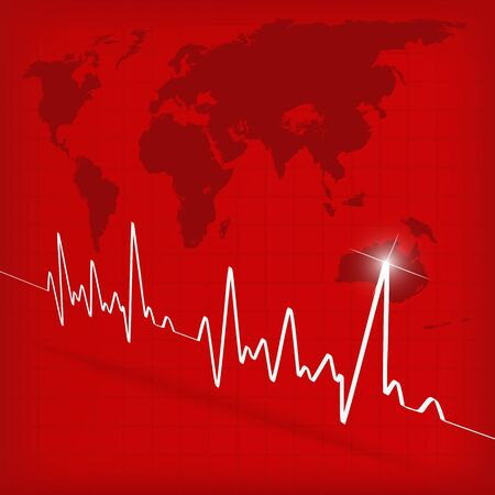 White Heart Beats Cardiogram on Red background - illustration Stock Illustration - 15728156