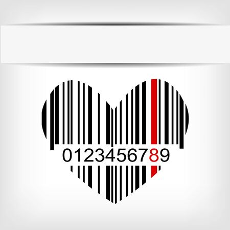 Barcode image with red strip - illustration illustration