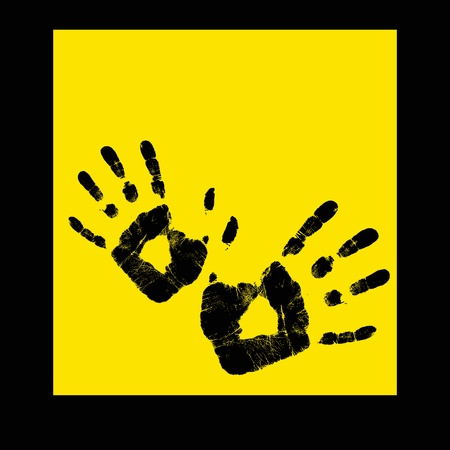 Abstract hand print on a yellow background -  illustration Stock Illustration - 15728202