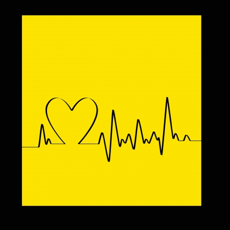 White Heart Beats Cardiogram on Yellow background -  illustration Vector