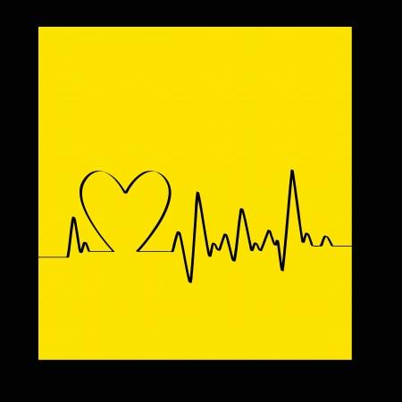latidos del coraz�n: White Heart Beats Cardiogram sobre fondo amarillo - ilustraci�n Vectores