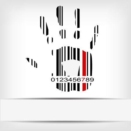 Barcode image with red strip - illustration Vector