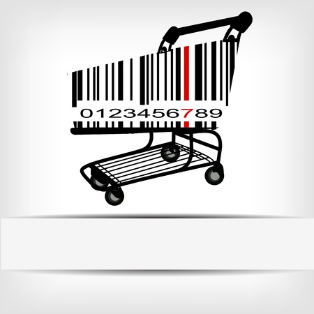 commerce: Barcode image with red strip -  illustration