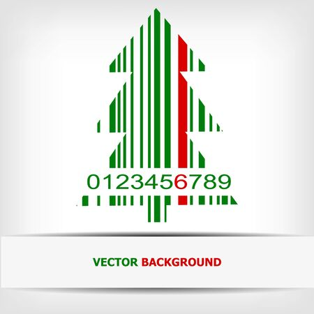 Abstract green Christmas tree barcode background - illustration Stock Vector - 15727834