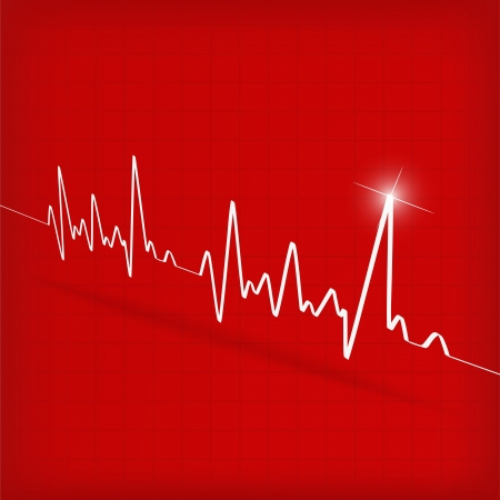 White Heart Beats Cardiogram on Red background -  illustration Vector